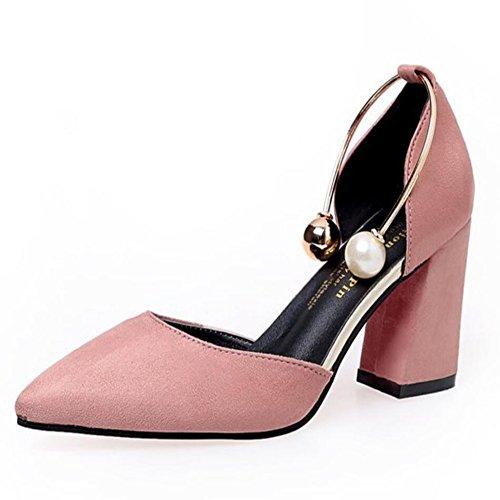 GAOLIXIA Zapatos de mujer de cuero PU Summer Basic Pump Tacones para Casual Negro Beige Rosa Borgoña Rosado