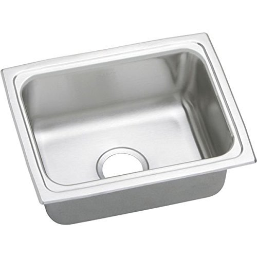 Bowl Quick Clip (Elkao|#Elkay PFRQ2519 20 Gauge Stainless Steel 25 Inch x 19.5 Inch x 7.25 Inch single Bowl Top Mount Quick-Clip Kitchen Sink, by Elkay)