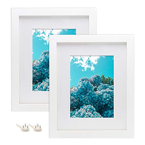 Afuly 8x10 Picture Frames Set of 2 White Photo Frames fit 5x7 Photograph with Mat for Desk Table Top Display and Wall Gallery Art Mounting Material Included Wedding Gifts Solid Wood Grain Finished