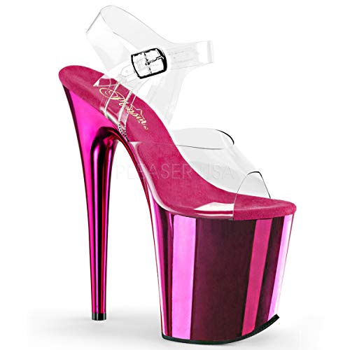 "Pleaser Flamingo-808 Exotic Dancing Shoes, 8"" Heel Ankle Strap Platform Sandal. Clear/Hot/Pink/Chrome Size 7"