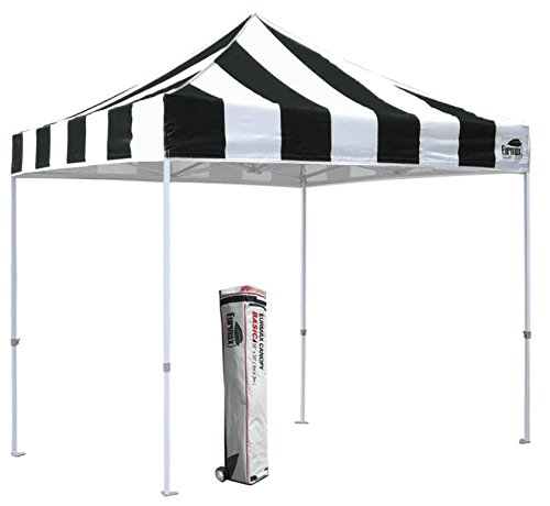 Eurmax Basic Ez Pop up Canopy 10×10 Instant Outdoor Party Portable Folded with Wheeled Storage Bag (Stripe Black/White) Review