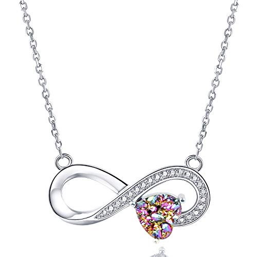 WISHMISS Sterling Silver 925 Natural Rainbow Druzy Necklace for Women (Infinity)