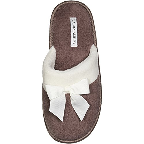 Slides Womens Ashley - Laura Ashley Ladies Scuff W/Bow Dark Pack Mink M