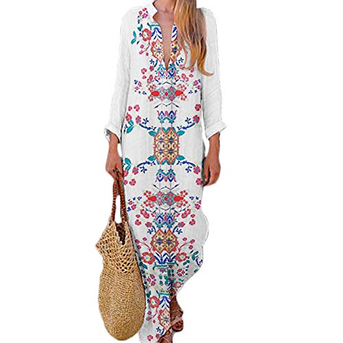 Women's Bohemian Floral Print Split Cotton Linen Maxi Dress Deep V Neck Long Sleeve Casual Party Dresses (White-D, S)