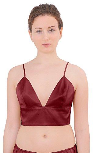 Pure Silk Bra - Marycrafts Womens Pure Silk Triangle Bralette Bralet Bras Crop Top 20 Plum Red