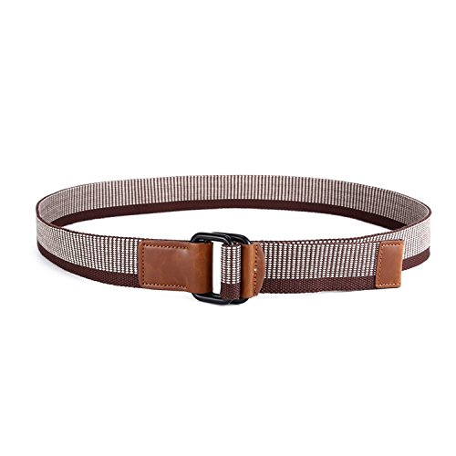 YouzhiWan007 Canvas Belt Gunblack Metal D Ring Buckle Webbing Belt 38mm Wide Coffee47inch long fashion style