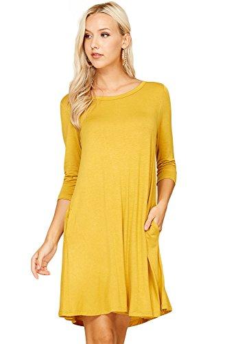 3/4 sleeve yellow dress - 7