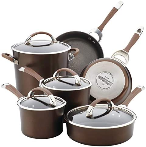 Circulon Symmetry Hard Anodized Nonstick Cookware Set, 10-Piece, Chocolate