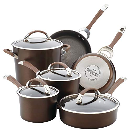 Circulon 84596 10-Piece Hard Anodized Aluminum Cookware Set, Chocolate