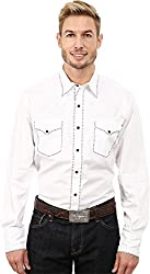 Roper Men's 100 Contrast Twill w/ Tonal Victorian Embroidery White Button-up Shirt SM