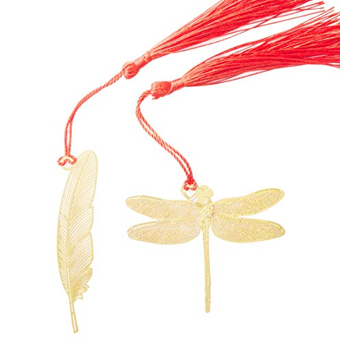 (WONBSDOM Metal Dragonfly&Feather Bookmarks 2 Pcs Chromatic Color Golden Hollow with Red Chinese's Knotting Strap,Ideal Gift for Friends and)