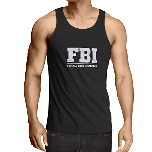 lepni.me Vest Female Body Inspector - FBI - Joke Quotes, Funny Slogans (X-Large Black Fluorescent)