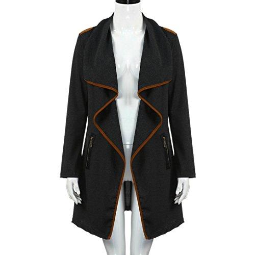 Manteaux Longues Plus Size Zycshang Jacket Femmes Manches xxxl Black Cardigan Outerwear À gqq7awU