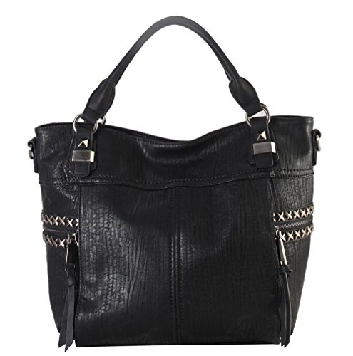 Diophy Soft PU Leather Tote Accented with Studded Décor and Zippered Pocket on Both Side Womens Purse Handbag OB-3728 (Stud Hobo Purse)