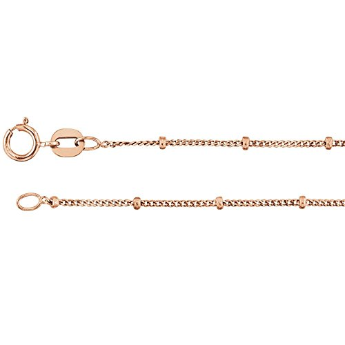 Beaded Curb Chain - Bonyak Jewelry 14k Rose Gold 1mm Solid Beaded Curb 18