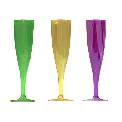 Party Essentials N5146 12 Count Champagne Mardi Gras Mix Glasses, 5 oz, Neon