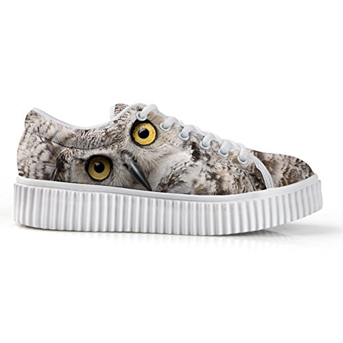Hugs Idea Fashion 3d Animal Face Printg Scarpe Basse Basse Sneakers Della Piattaforma Gufo