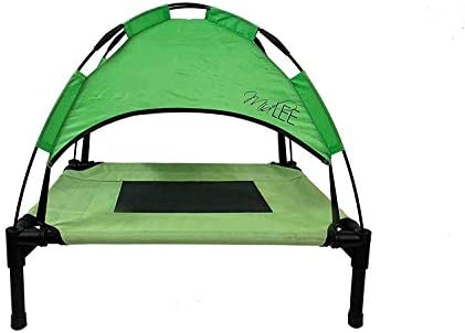 Midlee Outdoor Elevated Dog Cot Bed with Shade Canopy – Green