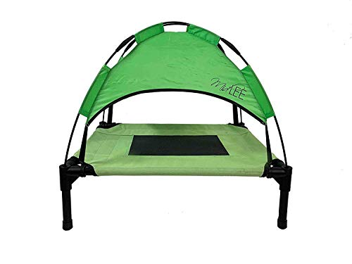 (Midlee Outdoor Elevated Dog Cot Bed with Shade Canopy - Green (18