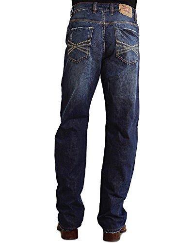Stetson Men's 1520 Standard Straight Leg Fit Jean,Medium Stone Wash with Contrast X Stitch Back Pocket Embroidery, 35x34 - Contrast Stitch Jeans