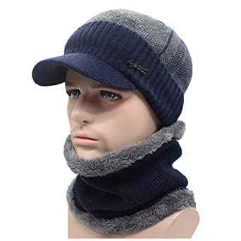 AETRUE Casual Winter Wool Scarf Caps Skullies Beanies Bonnet Knitted Hats  for Men (Navy Gray)  Amazon.in  Clothing   Accessories 1c0148b54e1f