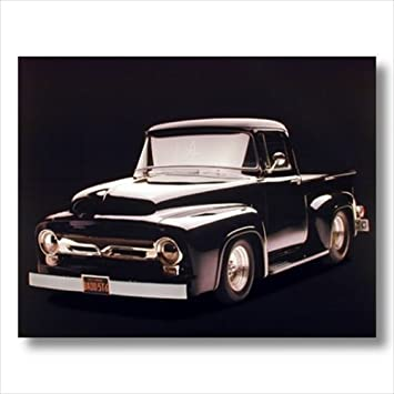 1956 Black F-100 Ford Pickup Truck Wall Picture Art Print