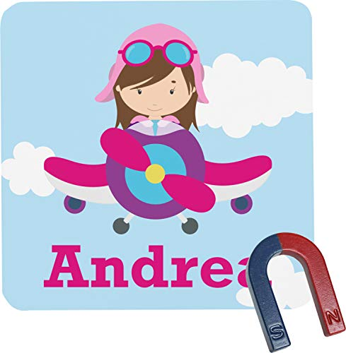 Airplane & Girl Pilot Square Fridge Magnet (Personalized)