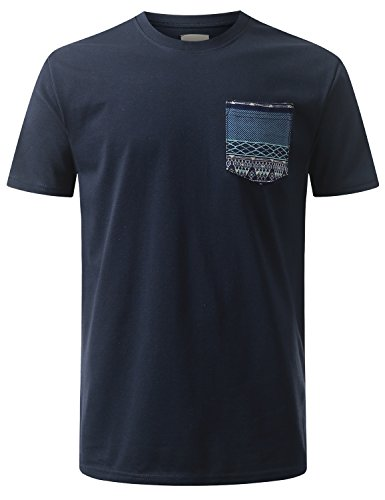 URBANCREWS Mens Hipster Hip Hop Patterned Knitten Pocket T-shirt NAVY, M