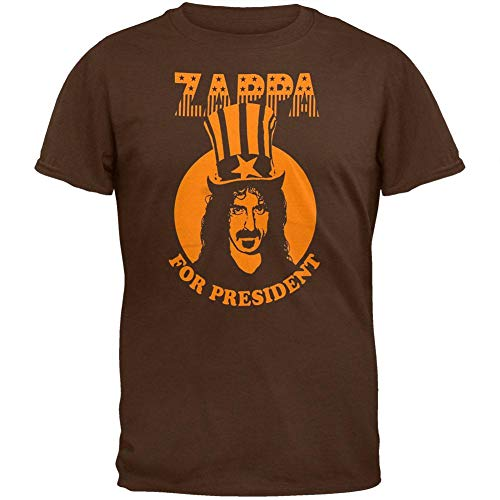Old Glory Frank Zappa - Mens President T-Shirt - X-Large Dark Brown