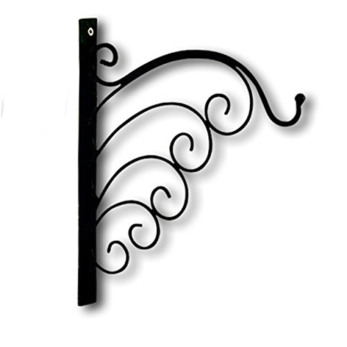 Post Candle Lantern - Whole House Worlds The French Country Style Wall Hook Bracket, Iron, Scrolling Waves Design, 12 ½ L x 1 ¼ W x 11 ¾ H Inches, Screw On, For Hanging Plants or Lanterns, By WHW