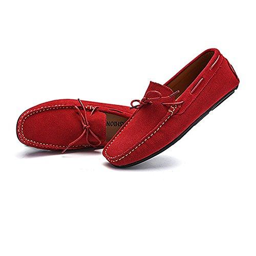 Véritable Semelle Suede Chaussures Hommes Mocassins de Goujons pour de Bateau Chaussures Cuir Penny Red Mocassins Caoutchouc Conduite Cricket xIwOYqgP