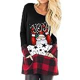 FAPIZI Women Christmas Tops Fashion Santa Printed Long Sleeve Plus Size Tunic Tops Plaid Splice Hem Pullover Blouse Red