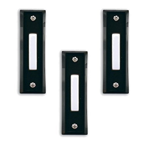 Heath Zenith SL-664-02 Wired Push Button, Black Finish with White Center Button (3 Pack)
