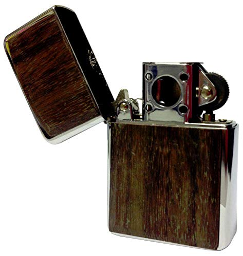 VECTOR Thunderbird Soft Flame Flip Top Butane Silver Pipe Lighter in Wood Plate