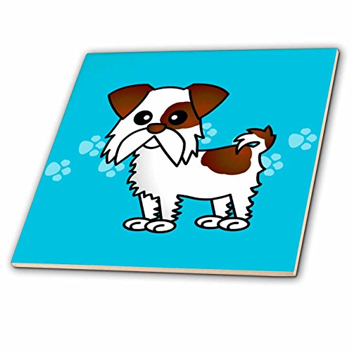 3dRose ct_10837_2 Cute Brown and White Shih Tzu Blue with Paw Prints Ceramic Tile, 6-Inch (Tzu Prints Paw Shih)