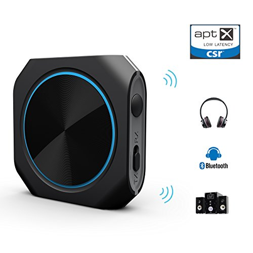 Zoweetek 2-in-1 Bluetooth 4.1 Transmitter and Receiver, Aptx Low Latency 3.5mm and RCA Wireless Audio Adapter -