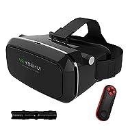 3d VR Lunettes, ysshui 3d VR Oreillette Bluetooth avec télécommande carton réalité virtuelle vidéo mobile phone 3d jeux avec résine objectif de 4.7–6.0pouces téléphones portables