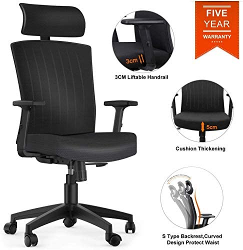 Komene Office Desk Chair,5 Years Warranty Weight Hold Up 250IBS,Comfortable Thick Seat Cushion Ergonomic Computer Chair with Adjustable Headrest Armrests Seat Height