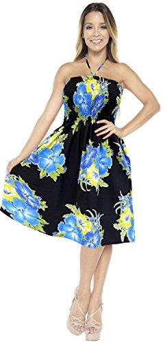 Vestido de Azul Ropa g239 Traje de Falda Midi Maxi Halter de Encubrir baño Mujer Aloha de Tirantes Tubo Playa Vestido Superior la para qz16w6