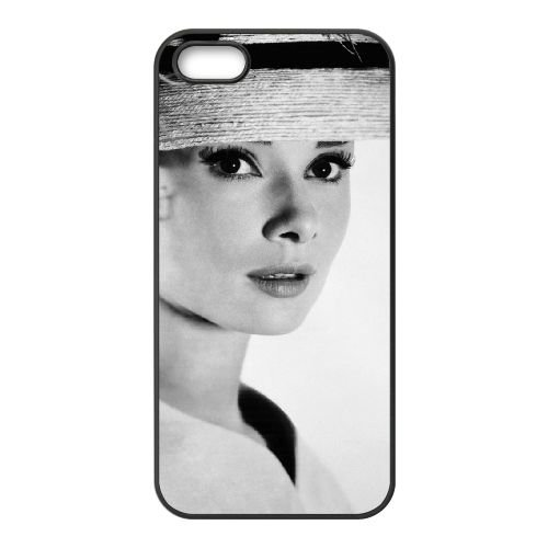 Audrey Hepburn 010 coque iPhone 4 4S cellulaire cas coque de téléphone cas téléphone cellulaire noir couvercle EEEXLKNBC23184