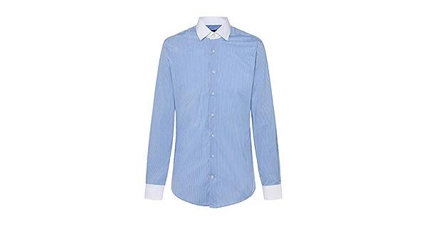 Camisa Hackett Azul Rayas Cuello Blanco Hombre 16 Azul ...