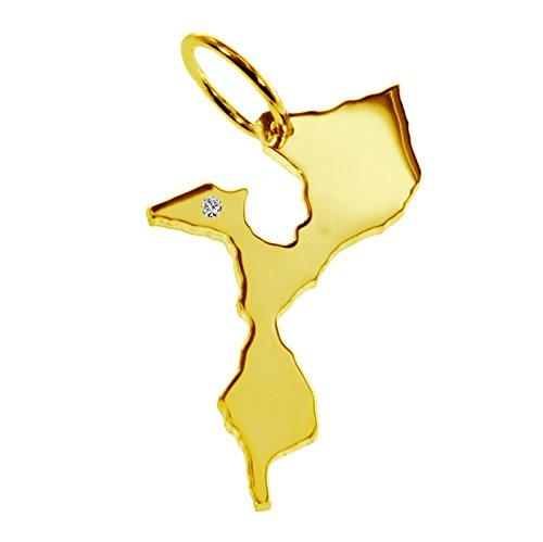 mozambik Pendentif avec un brillant 0.015ct dans votre souhait endroit 585or jaune