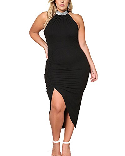Grande lgantes Sans Taille Robe Noir Cou Rond Manches Midi Femmes F5qdPF