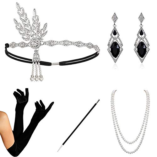 HAMIST 1920s Accessories Set Flapper Costume for Women Headband Gloves Cigarette Holder Necklace (1920Set5-HA02Sliver) -