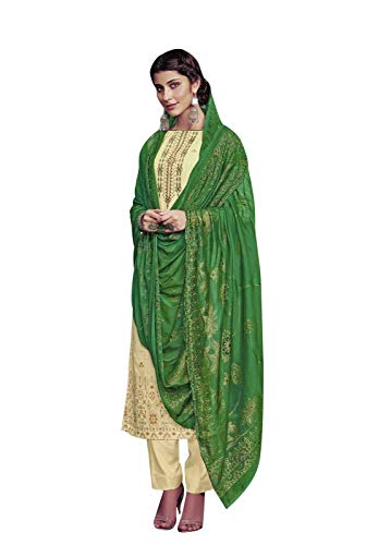 (Ladyline Cotton Embroidered Salwar Kameez Ready to Wear Indian Womens Evening Dress (Size_50/ Cream))