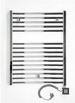 anapont Radiador Toallero Eléctrico, Cromado, Recta, Disponible en Diferentes tamaños, toallero, Secador de Toalla - 775h x 600b