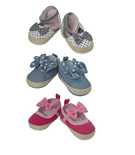 Little Me 3-Pair Baby Girls Casual Shoe Set In Box; 6-9 Months