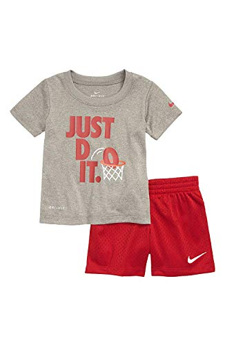 ri Fit Short Sleeve T-Shirt and Short 2 Piece Set (Dark Grey Heather(76D374-042)/Red, 12 Months) ()