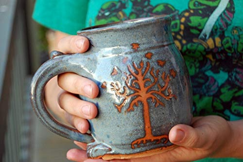 (Hand Thrown Stoneware Pottery Mug with Tree of Life Mug or Tree of Gondor)