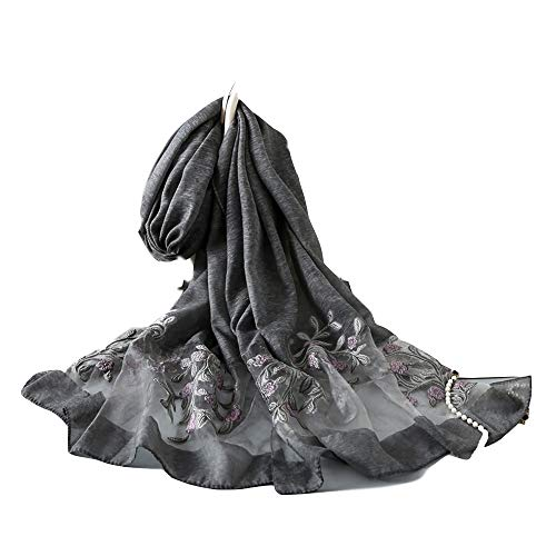 Silk Embroidered Scarf fSilk Embroidered Scor Women Lightweight Floral Sunscreen Shawls Flower Jacquard Exquisite Edge Seaming Scarves for All Weather Long and Large Solid Color Smooth Shawl Head Wrap